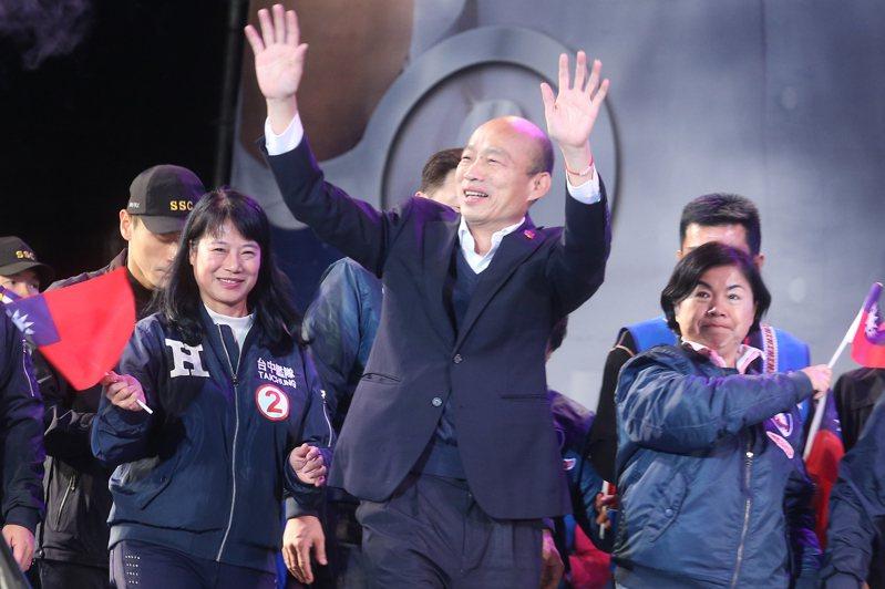 國民黨總統候選人韓國瑜今天晚上出席台中的造勢晚會。記者季相儒/攝影