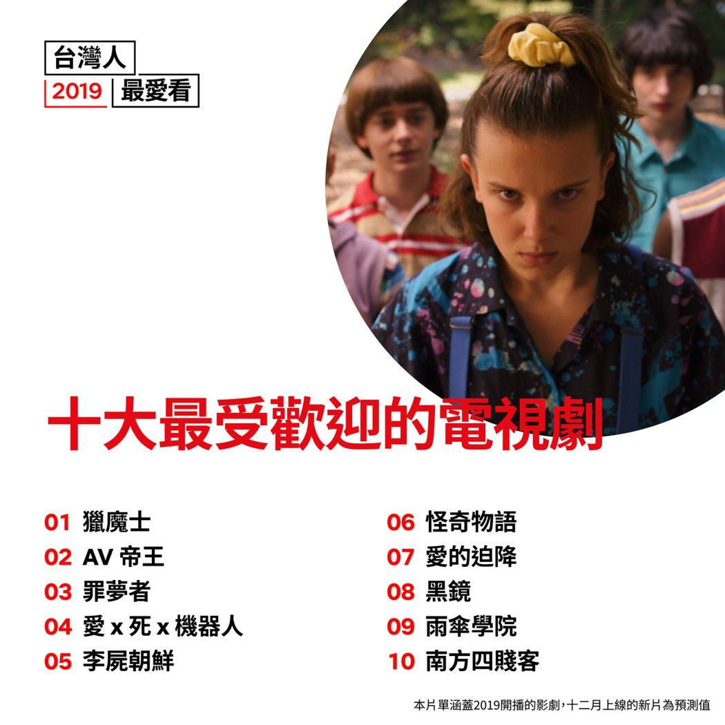 2019台灣會員最愛看內容:影集排行榜。 Netflix /提供