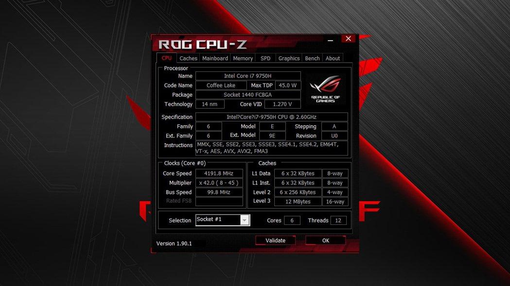 採用中高階主流處理器英特爾第9代Intel Core i7-9750。 彭子豪/...
