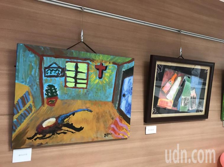 嘉義長庚醫院的「心動畫展」,展出37幅ADHD孩童蛻變後展現生命力的畫作,作品顏...