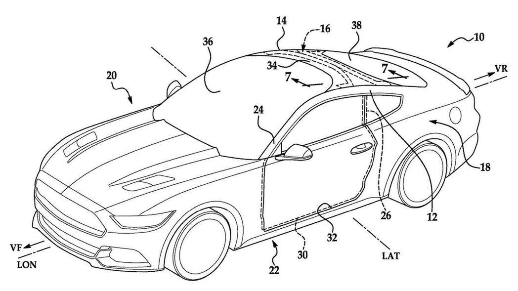 福特最新的專利圖上將擋風玻璃延伸至車頂。 摘自Carscoops