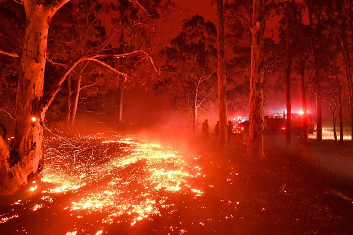 澳州大火從2019一路燒進2020。圖為2019年12月31日,新南威爾斯州森林...