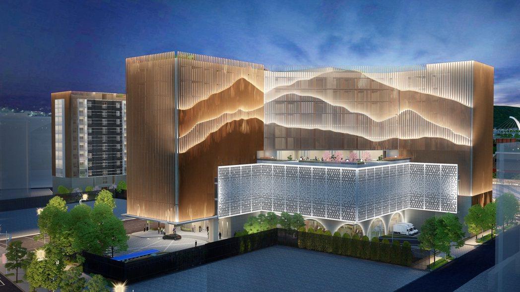 麗寶圓山捷運西側開發案西南側建築山形立面夜間模擬圖。圖/麗寶提供