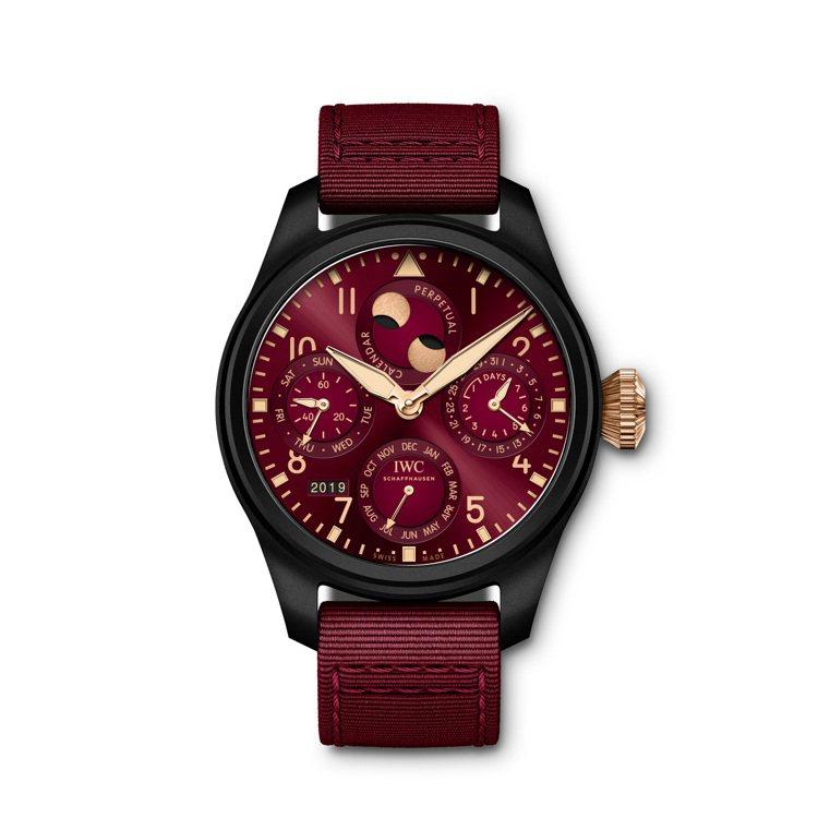IWC的大型飛行員萬年曆腕表「路易斯漢米爾頓」特別版,黑色陶瓷表殼、酒紅色表面,...