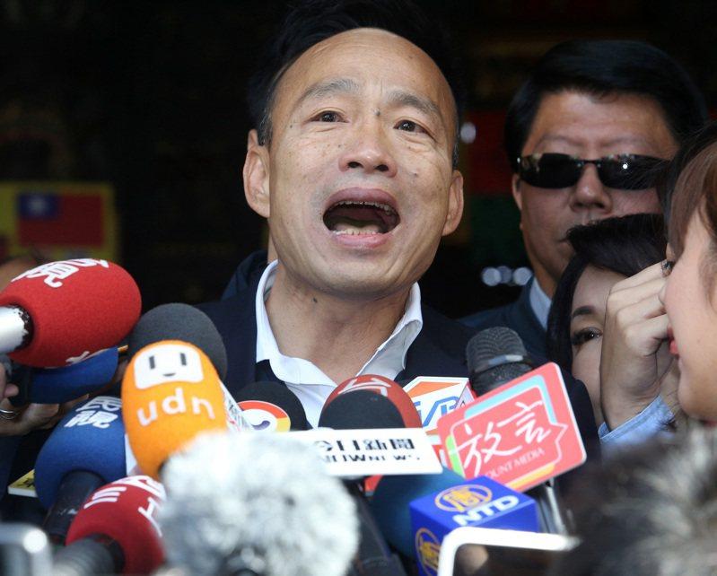 針對立法院通過「反滲透法」,國民黨總統候選人韓國瑜表示鴨霸表決是民進黨過去在野時最痛恨的方式,他再次承諾,若當選、國民黨立院過半,將重新檢討反滲透法,讓台灣人民過沒有恐懼的日子。記者劉學聖/攝影