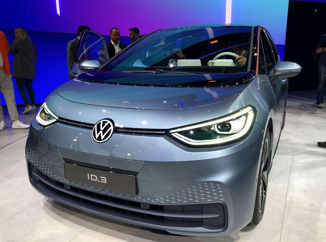 福斯在2019年10月正式發表的首款電動車ID.3。(路透)