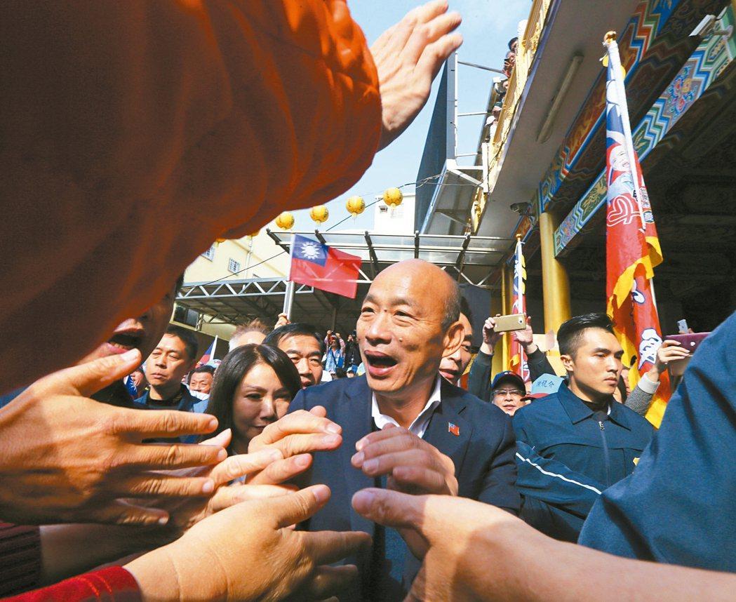 國民黨總統候選人韓國瑜今天行程滿滿,趕到台南玉皇宮參拜,沿途都是支持群眾,大家拿...