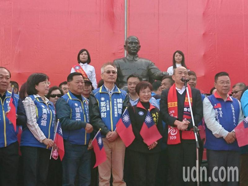 韓國瑜今天到台南參加升旗典禮。記者鄭惠仁/攝影
