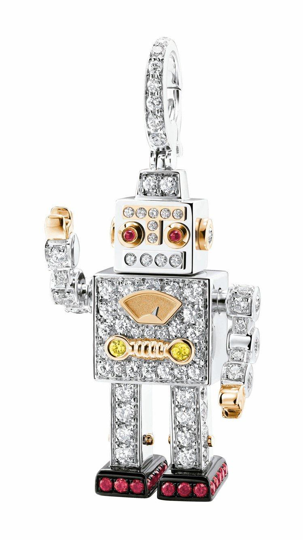 Qeelin,Roobot系列,18K白金鑲鑽與紅寶石中型吊墜,36萬6,000...