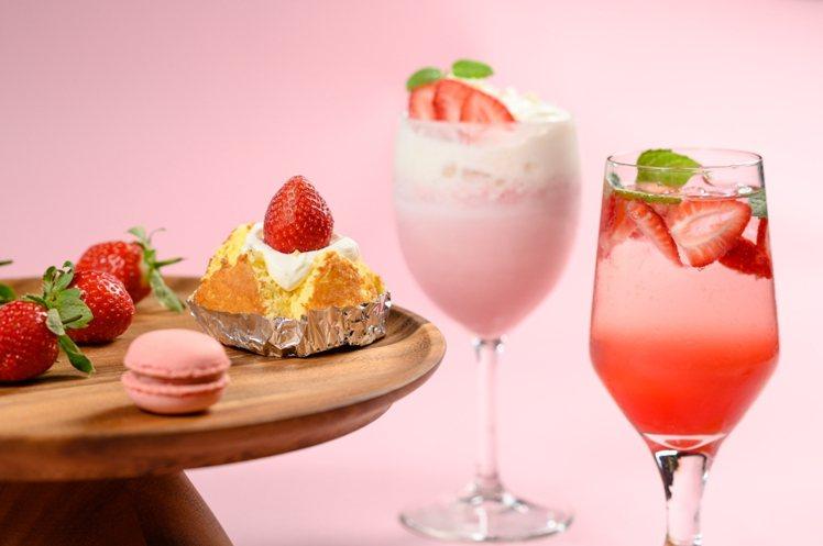 新竹豐邑喜來登大飯店限時推出「凡爾賽_草莓派對」,供應草莓甜點吃到飽。圖/新竹豐...