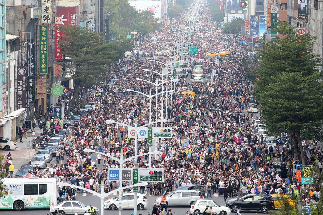 12月21日,Wecare台灣罷韓大遊行。 圖/聯合報系資料照