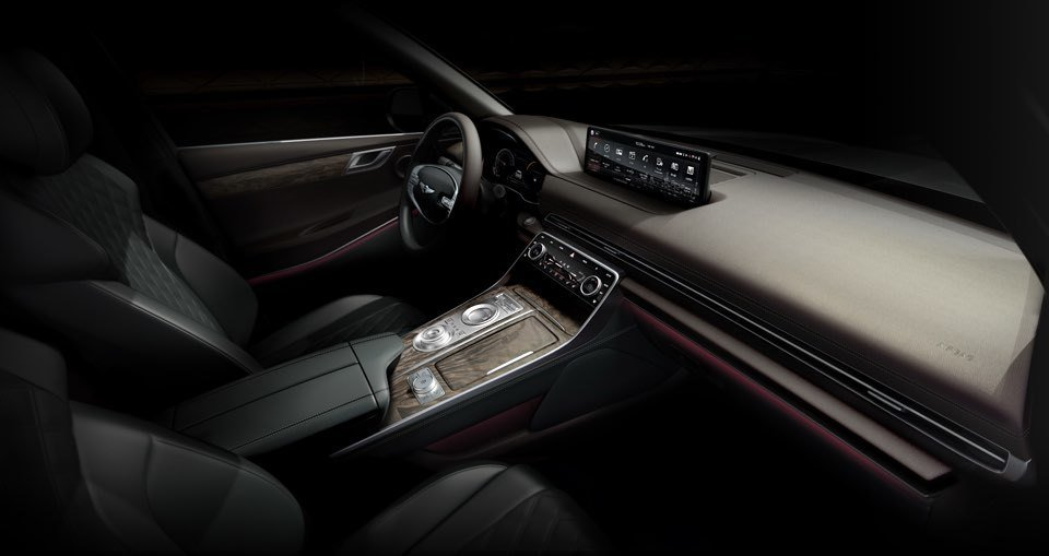 Genesis GV80 內裝預告圖。 摘自Hyundai