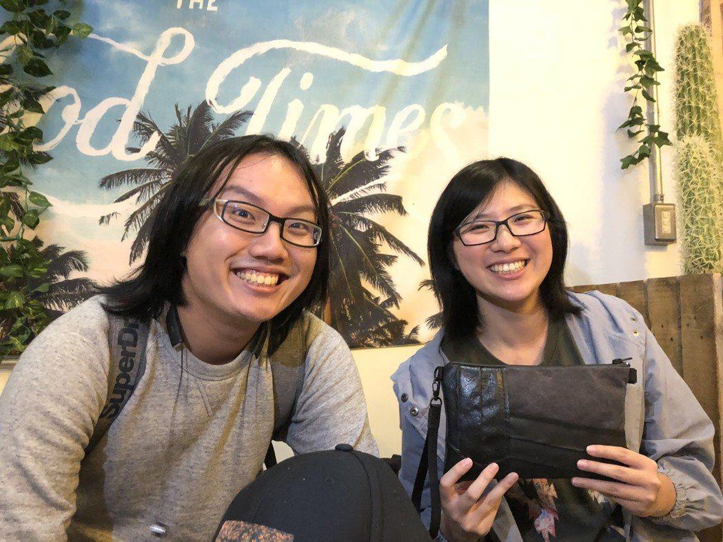 拿著「二次運球」產品笑容燦爛的黃唯彧(左)與林敬家(右)。 圖/林妤瑄攝影