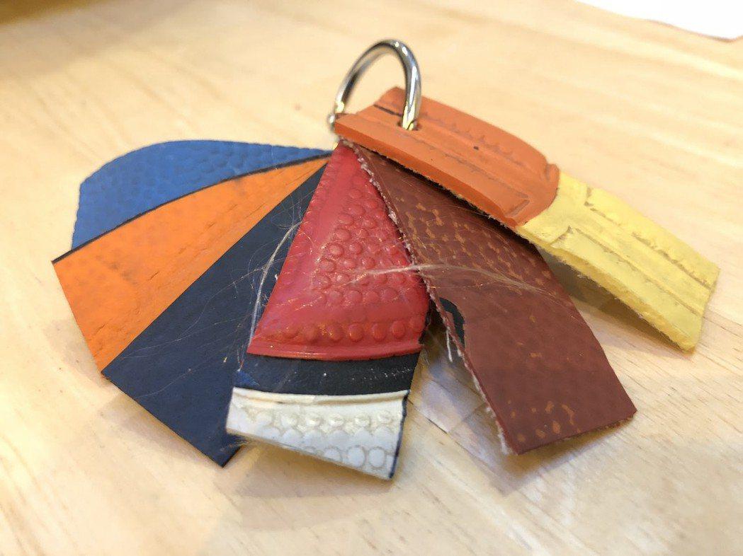 串在一起的各種材質與顏色球皮樣本。 圖/林妤瑄攝影