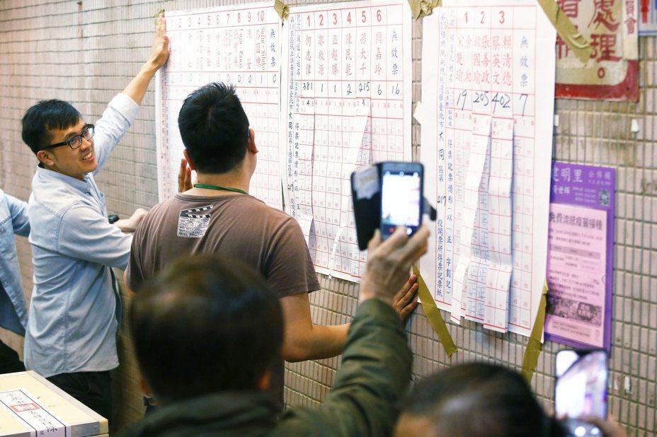 總統大選及立委選舉開始開票,民眾紛紛前往開票所關心開票進度。記者曾原信/攝影