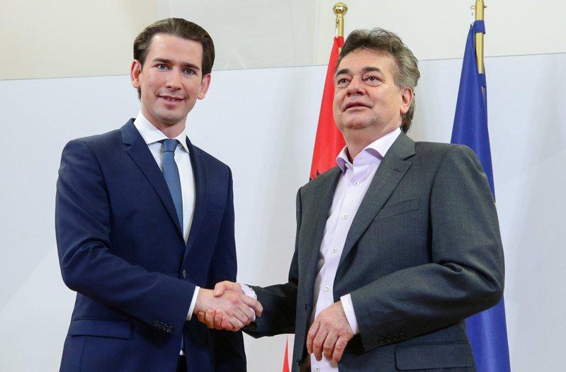 奧地利人民黨領袖庫爾茲(左)與綠黨領袖庫格勒(右)合作。路透