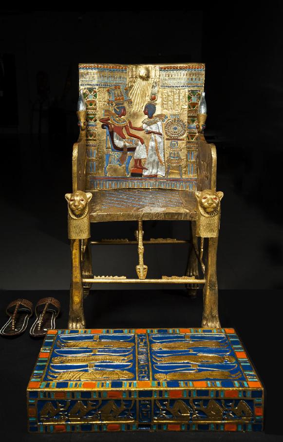 生動描繪法老王生活的國王座椅。(圖/主辦單位聯合數位文創提供)