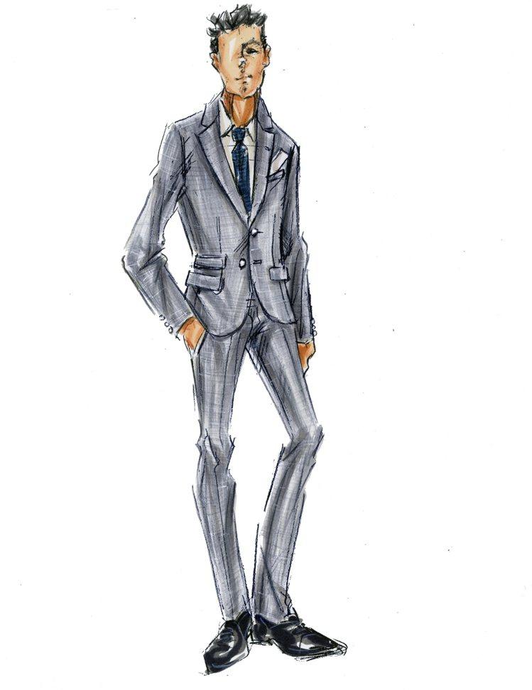 BOSS為韓庚婚禮量身打造訂製禮服的草稿。圖/BOSS提供