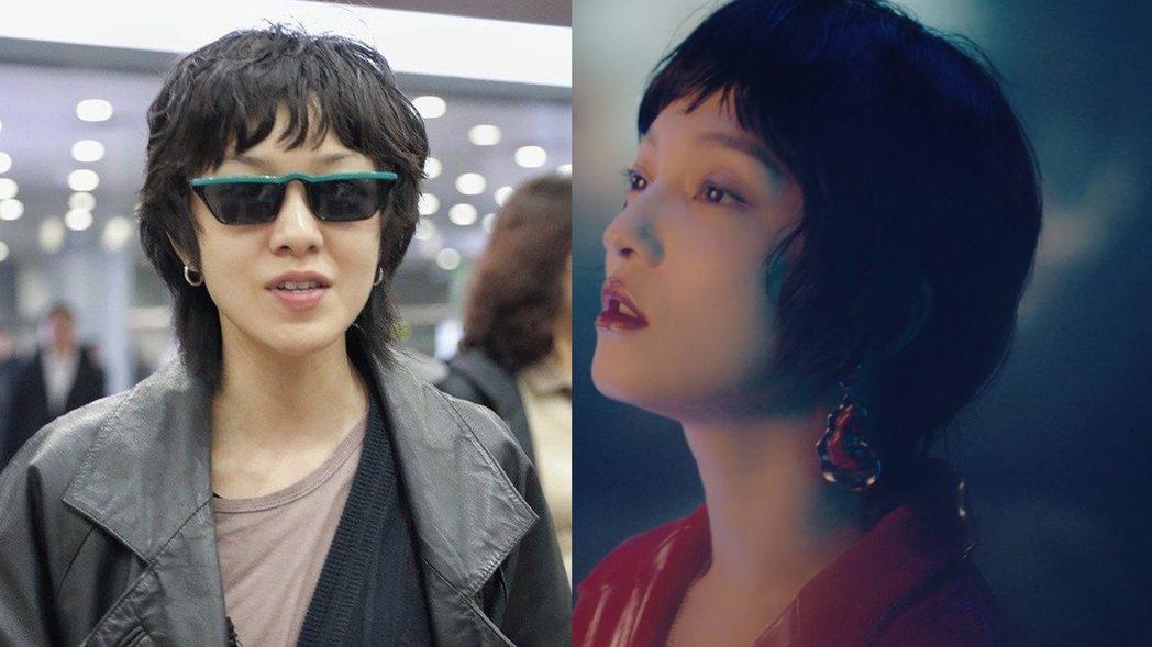 張韶涵在新歌「我」MV戴上「狗捲毛」假髮,被網友笑虧撞臉郭采潔。圖/CPF、心喜