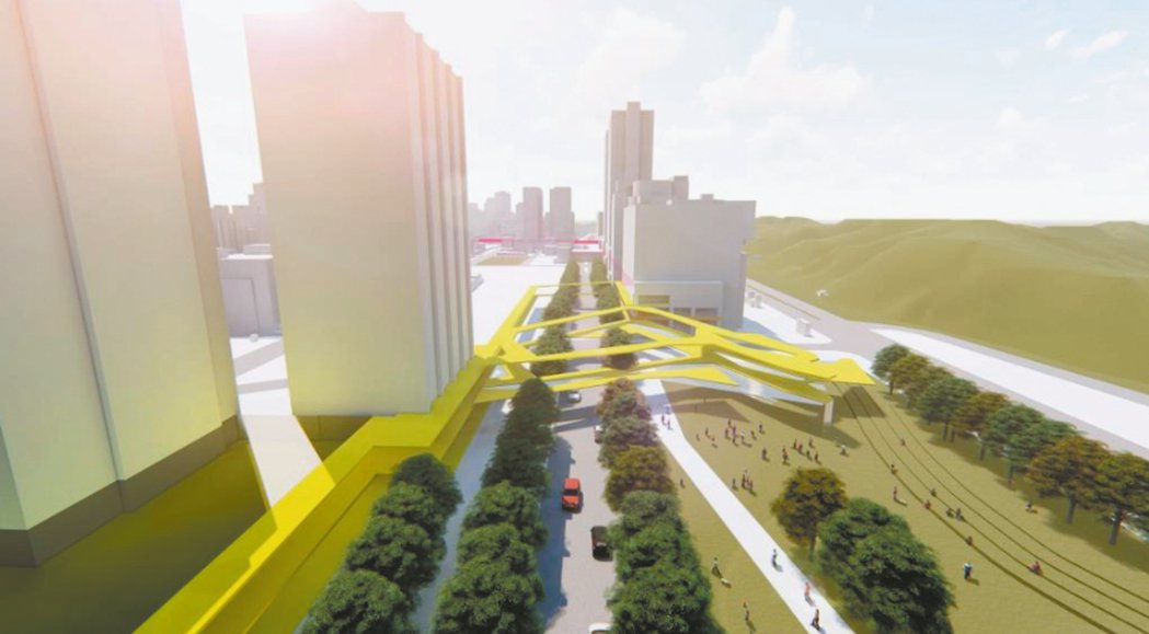 台北市推動東區門戶計畫,昨天首次曝光全長近800公尺的「南港綠廊」,融入生態、韌...