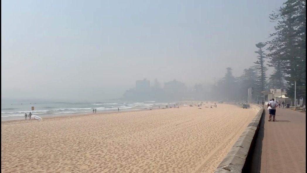 受野火影響的雪梨,上空被大片煙霧籠罩。 (路透)