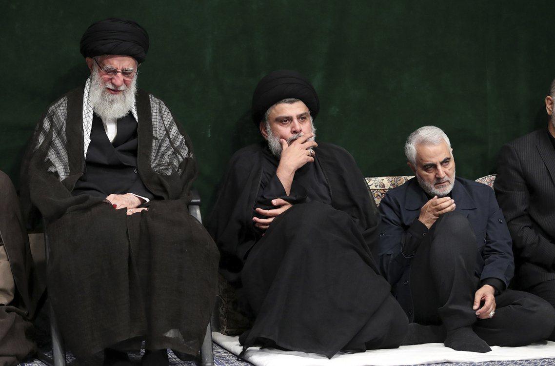 圖左至右分別為:伊朗最高領袖哈梅尼、伊拉克什葉派領袖薩德爾(Muqtada al...