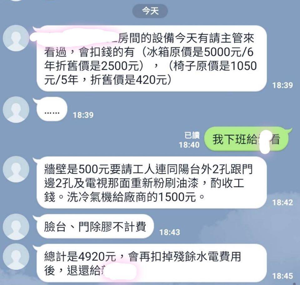 女網友PO出和房東的對話截圖。 圖/翻攝自爆怨公社