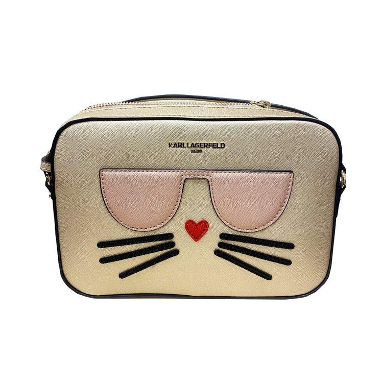 貓咪金色小方包,售價9,980元。圖/Weng Collection提供