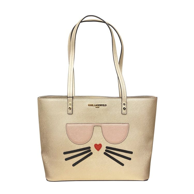 貓咪金色造型托特包,售價12,800元。圖/Weng Collection提供