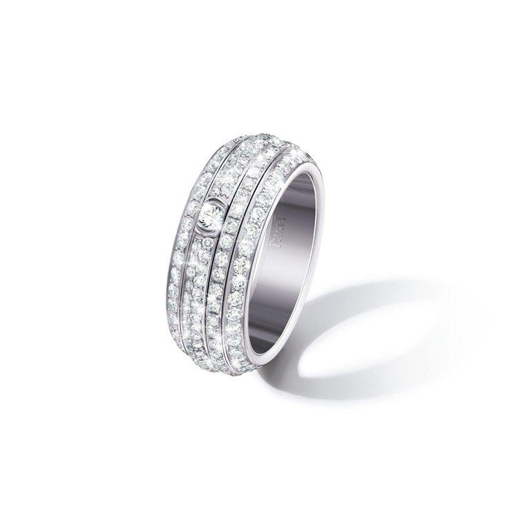 PIAGET,Posssession系列18K白金鑲鑽指環,57萬5,000元。...