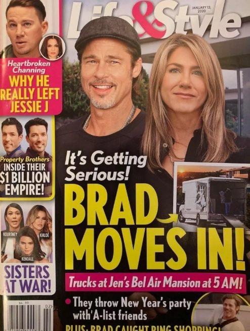 布萊德彼特與珍妮佛安妮絲頓被雜誌傳已又同居。圖/摘自Life & Style
