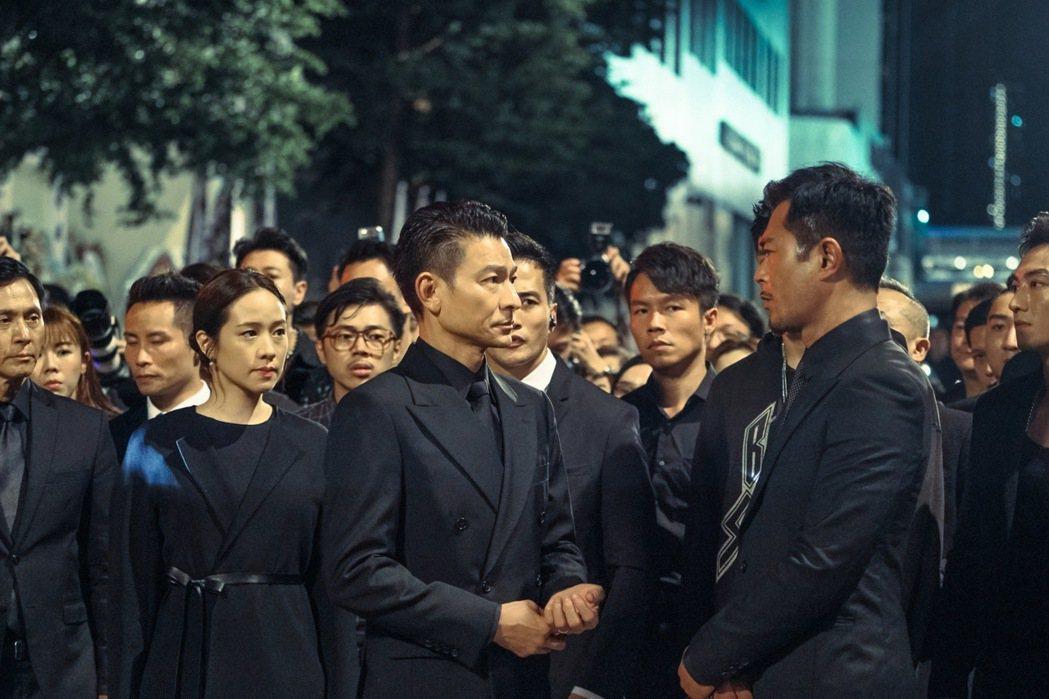 林嘉欣(左起)、劉德華、古天樂在「掃毒2天地對決」有糾葛的情仇。圖/衛視電影台提...