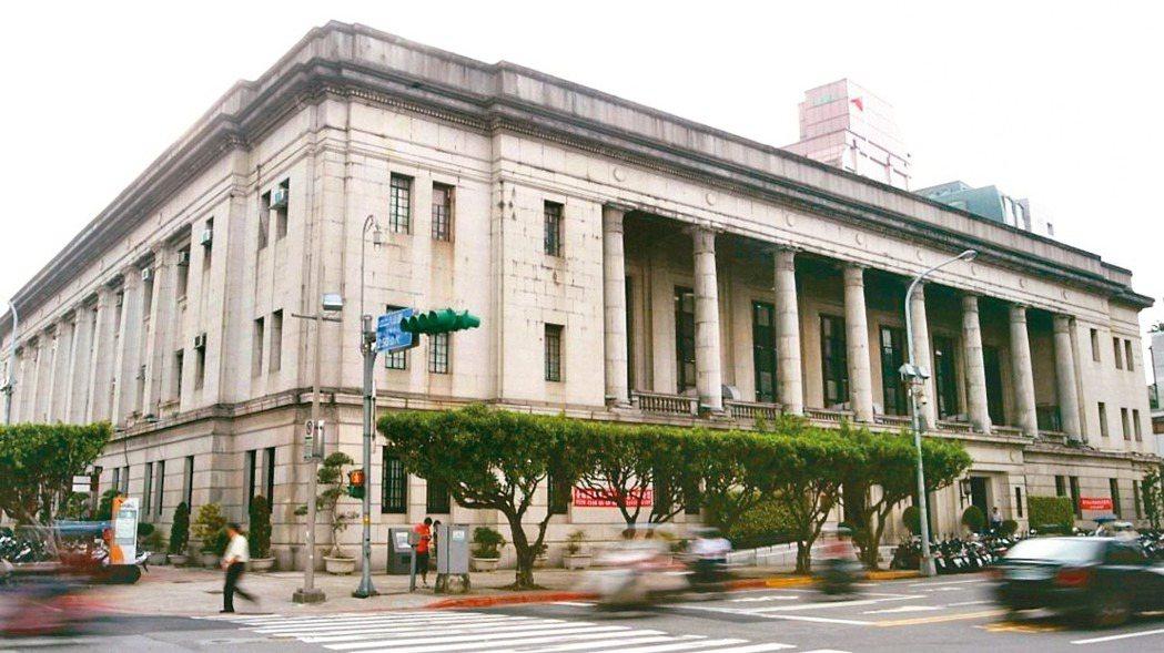 台灣銀行總行外觀。 報系資料照