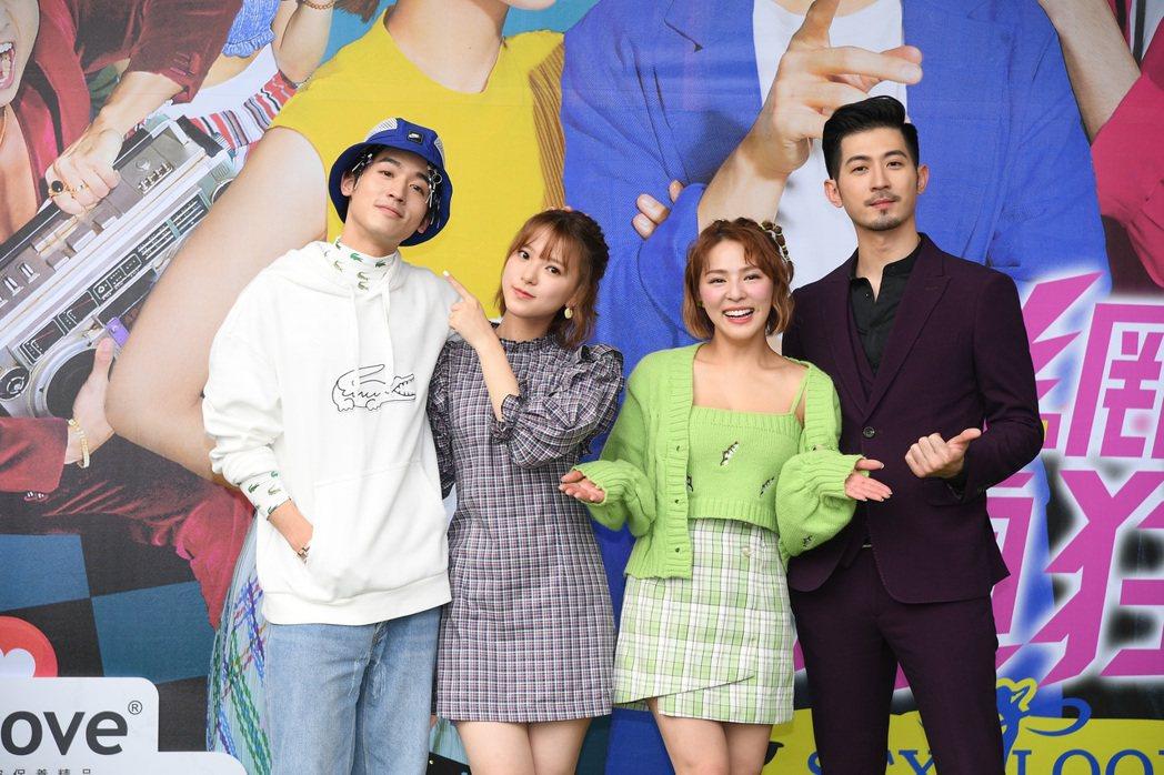 小樂(左起)項婕如、熊熊和言明澔出席台中見面會吸引爆滿人潮。圖/三立提供