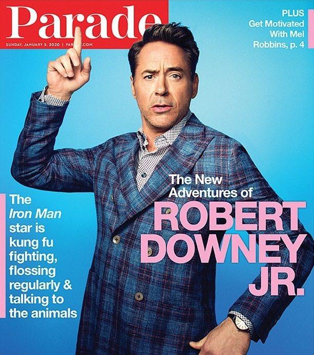 小勞勃道尼登上新雜誌封面,為新片「杜立德」強力造勢。圖/摘自Parade