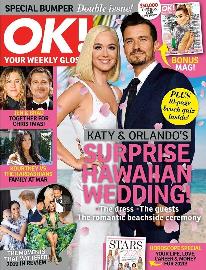 奧蘭多布魯與凱蒂佩芮被八卦刊物封面報導在夏威夷秘婚。圖/摘自Instagram