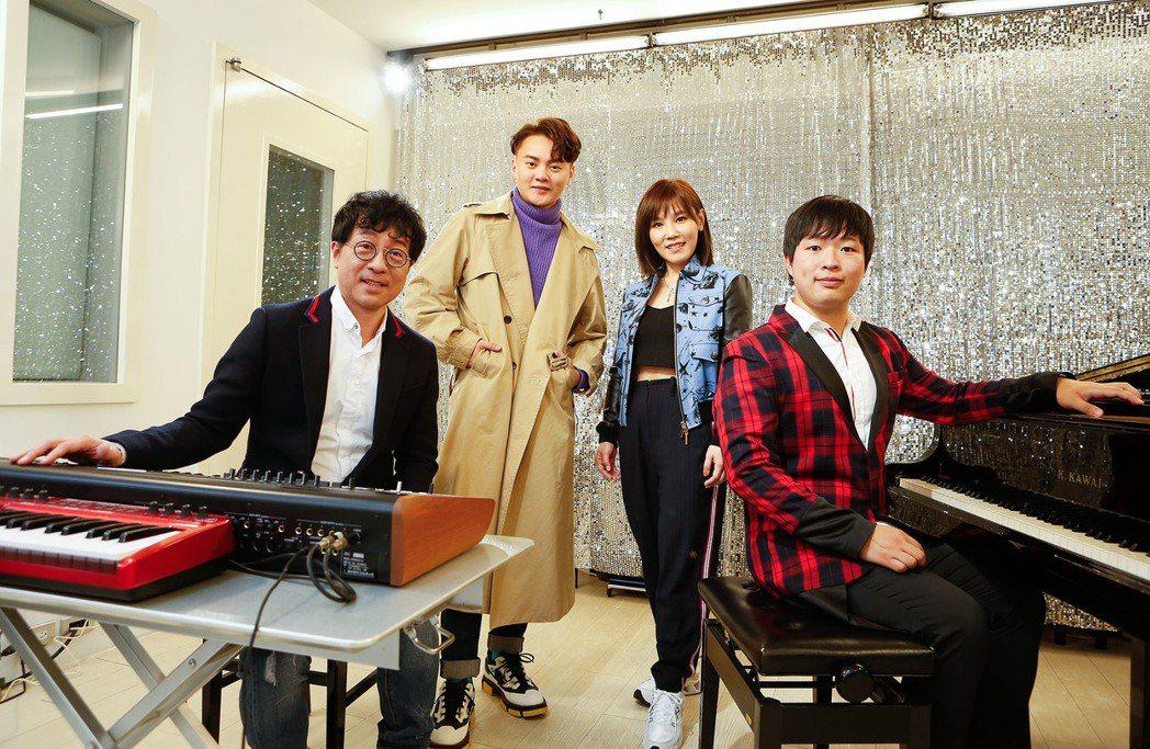 蔣三省(左起)、許富凱、李佳薇和蔣榮宗為台視八點檔大戲「生生世世」獻聲。圖/JM...