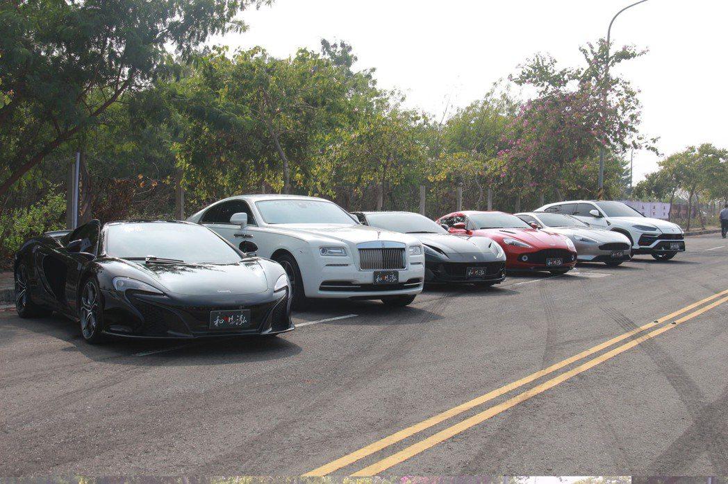 「彰化賽車節」競賽入口處就排出8輛名車,價值超過1億3千萬元。記者林敬家/攝影