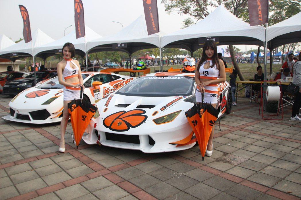 彰化賽車節展示的藍寶堅尼的Huracan為原廠競賽車,價值近3千萬。記者林敬家/...