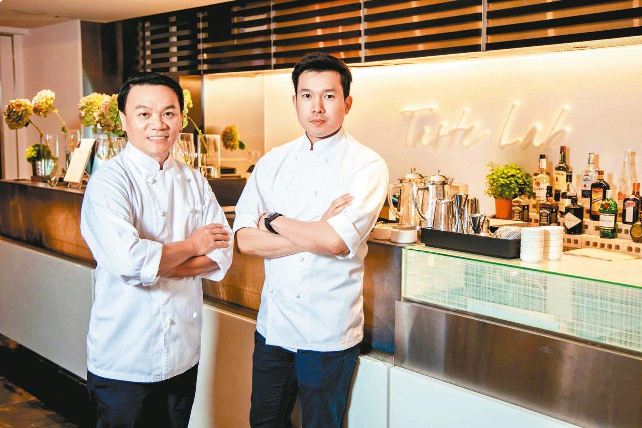擁有泰國廚壇金童美譽的伊恩.基第差(Ian Kittichai)主廚(左)以及他...