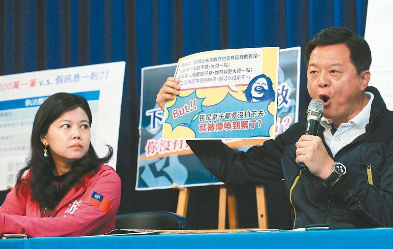韓國瑜的競選副總幹事周錫瑋(右),昨天批警政署祭獎懲查假侵犯言論自由。 記者陳正興/攝影