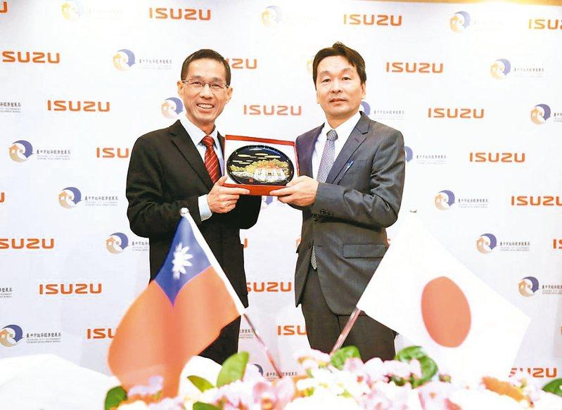 ISUZU海外營業第三部部長合田和生(右)與台中市府經發局長張峯源(左)簽署投資策略合作協議書。 圖/台中巿府提供