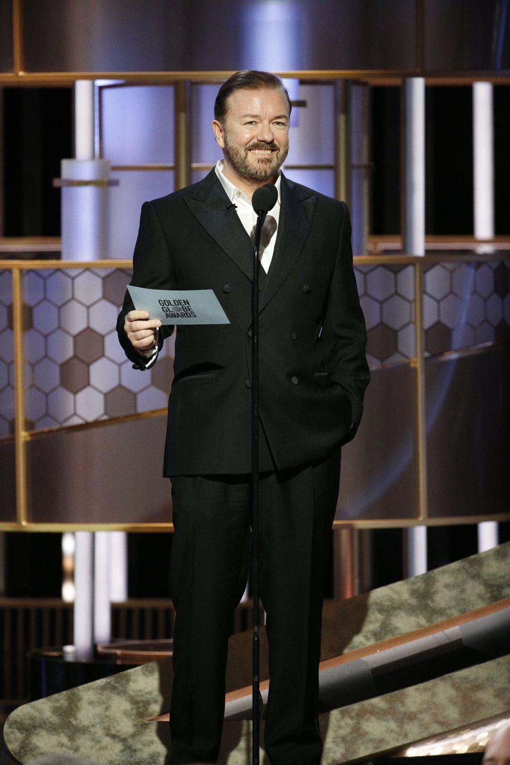 英國諧星瑞吉賈維斯接下金球獎頒獎典禮主持棒。 圖/美聯社