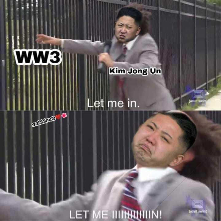 金正恩:讓我參加! 圖:FB@non sense Memes