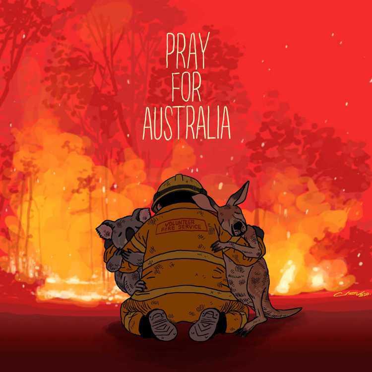 香港插畫家Cuson Lo畫圖祈求澳洲平安。圖片來源/臉書