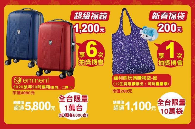 共有新春福袋、超級福箱兩種規格,買越多抽獎機會越多。圖/全聯福利中心提供