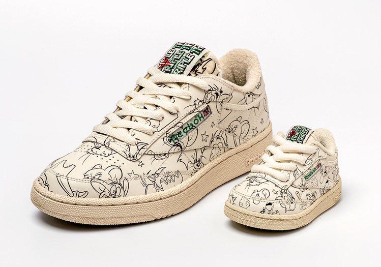 Reebok與華納影業合作,預計在2月推出的湯姆貓與傑利鼠系列鞋款。圖/摘自sn...