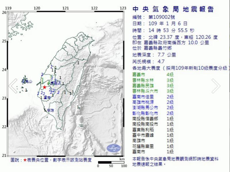 嘉義縣義竹鄉今天下午2時53分發生芮氏規模4.7地震。圖/氣象局提供