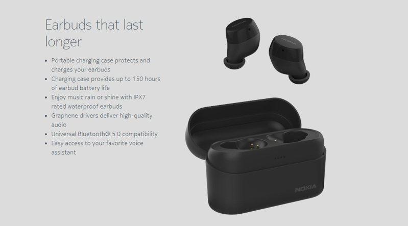 新一代Nokia Power Earbuds無線藍牙耳機將於16日在台上市。 圖/取自Nokia官網