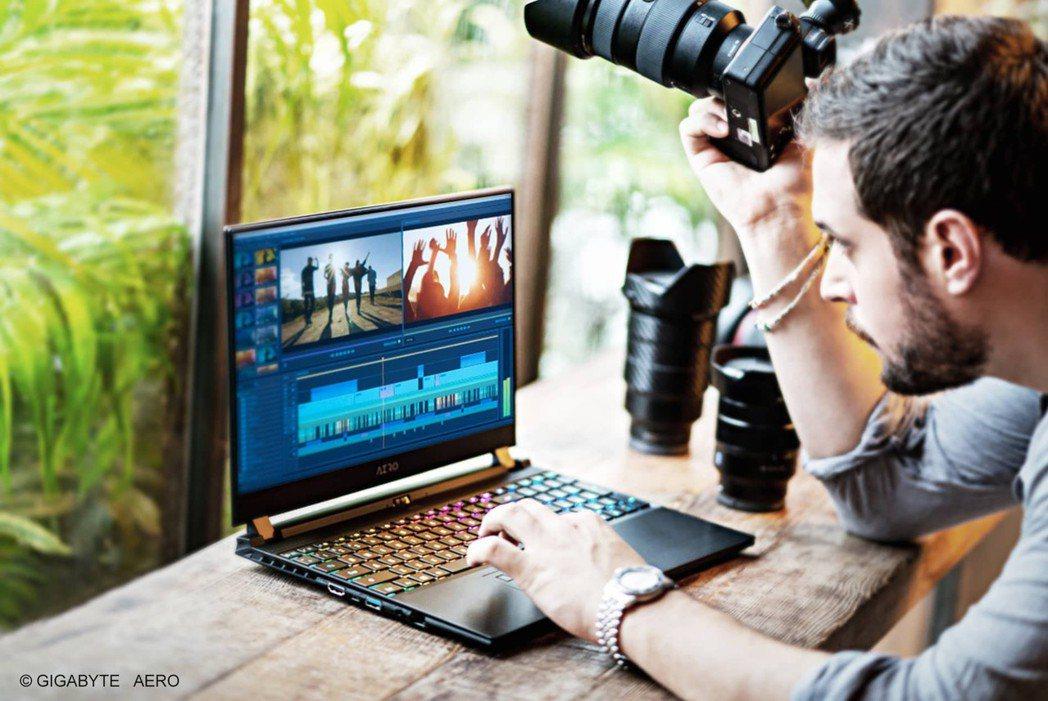 屢獲肯定的AERO系列筆電,精準色彩需求為創作者呈現高品質視覺體驗。 圖/技嘉科...